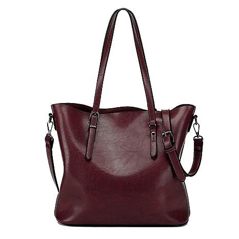 8bd86b1c4b80 Zicac Women's Handbags Vintage PU Leather Tote Shoulder Bag Large Capacity  Handle Satchel Handbags Crossbody Bag (Dark Red): Amazon.ca: Luggage & Bags