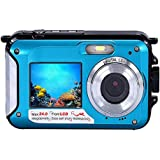 TOPmountain 16X Zoom Hd Waterproof Digital Camera Dual Screen 2.7'' LCD Camera Full Hd Camera Travel Photograph - Blue