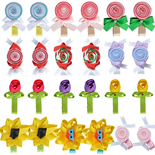 Tiny Flower Candy Boutique Bows Clips For Toddler Girls Fine Hair 12 Pairs LCLHB by LCLHB (Image #1)