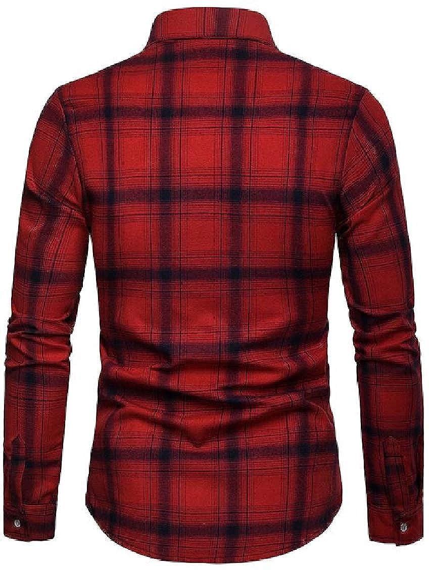 Hajotrawa Mens Long Sleeve Slim Fit Plus Size Plaid Button Up Casual Shirts