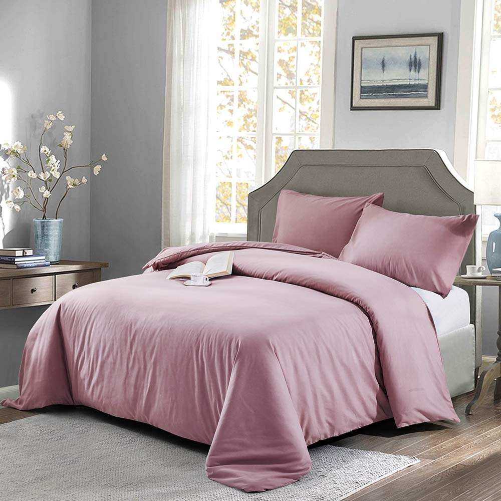OAITE Duvet Cover,Protects and Covers Your Comforter/Duvet Insert,Luxury 100% Super Soft Microfiber,Queen Size,Color Silver Gray,3 Piece Duvet Cover Set Includes 2 Pillow Shams (Silver Pink, Queen)