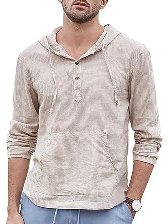 8664edac1983 Makkrom Mens Linen Hooded Henley Shirts Striped Long Sleeve Lightweight  Casual T-Shirt Tops with