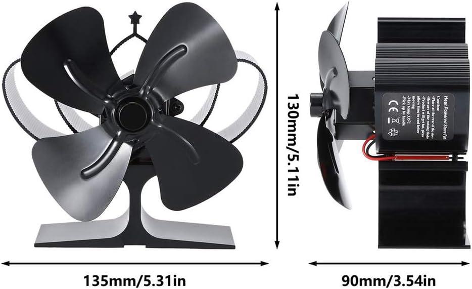 KKmoon Ventilador Estufa Le/ña de 4 Palas Ventilador de Chimenea para Madera//Quemador de Le/ña//Chimenea Ventilador Ecol/ógico