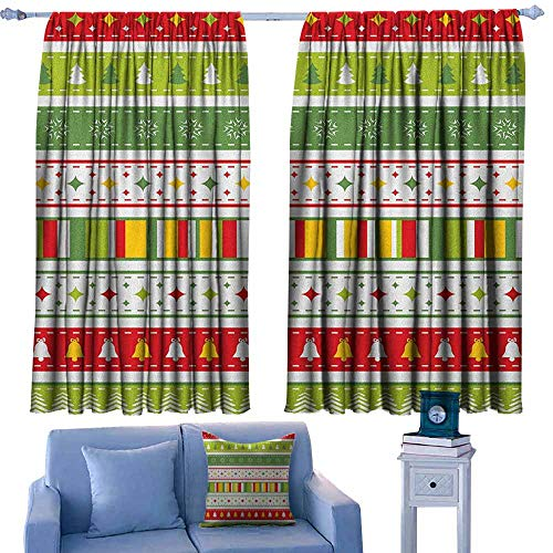 (Curtain Tailored,Christmas Set of Traditional Seasonal Borders Stars Bells Trees Stripes Print,Rod Pocket Drapes Thermal Insulated Panels Home décor,W55x45L Inches Lime Green Yellow Red)