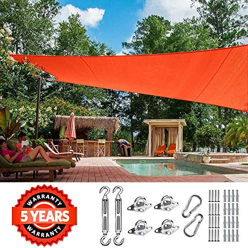 Quictent 24X24FT 185G HDPE Square Sun Shade Sail Canopy 98 UV Block Outdoor Patio Garden with Free Hardware Kit Red
