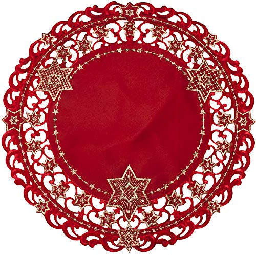 (Embroidered Red and Gold Holiday Star of David Christmas Doily Place Mat Small Tablecloth 24 Inch Round)