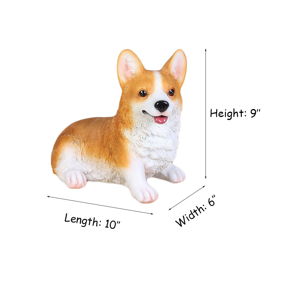 WAIT FLY Lovely Prostrate Corgi Dog Shaped Resin Piggy Bank Gifts for Kids Home Decoration