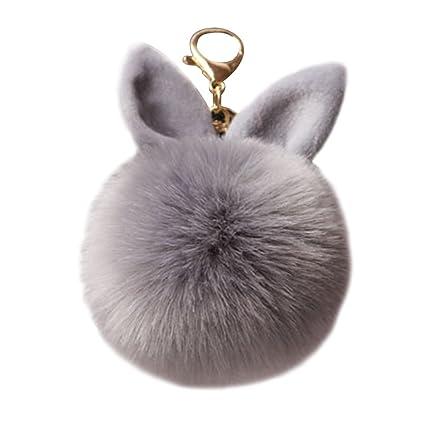 TOYMYTOY Lindo pompón bola de piel de felpa llavero oreja de conejo bolso de llavero decoración del encanto (gris)