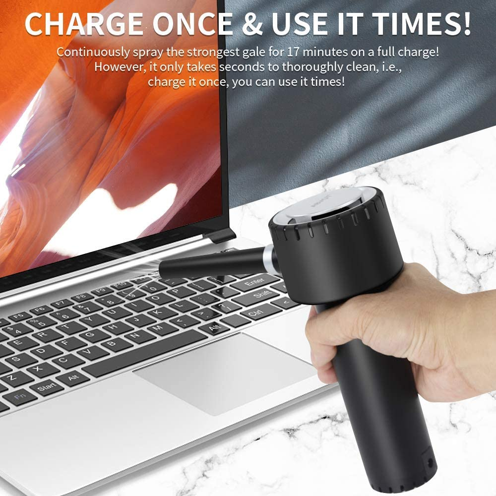 More Powerful Electric Duster Air Blower for Computer Keyboard Cleaning Cordless Air Duster 40000 RPM Rechargeable 6000mAh Battery Save Your Money on Compressed Gas Air Cans 12.6W Fast Charging