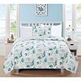 3pc Ocean Blue Pink Sea Shell Themed Quilt King Set, Ocean Bedding Coastal Hawaii Tropical Pattern Starfish Seashells Sealife Coral Clams Teal White, Stripes Cotton Polyester
