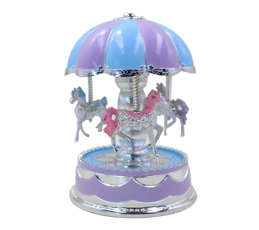 ABBY Boîte à Musique Carrousel Music Box Créative Couple de mariage Cadeaux Rose Jouet Musical Version coréenne de la boîte à musique de carrousel Musique et de l'éclairage