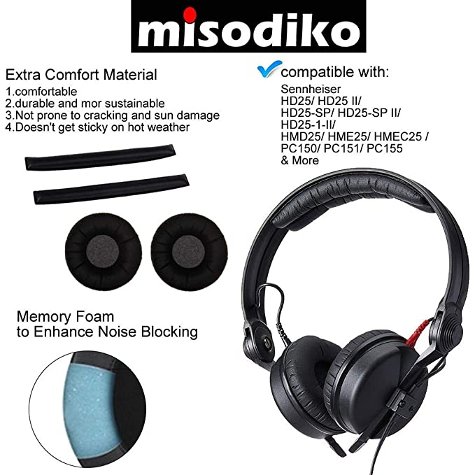8a0e75e5897 Amazon.com: misodiko Replacement Headband and Ear Pads Cushion Cover Kit -  for Sennheiser HD25, HD25-1 II | Headphones Repair Parts Earpads with Head  Band ...