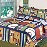 Fancy Collection Blue Red Green Sport Kids/teens 5 Pc Quilt and Sheet Set Bedding Twin Size