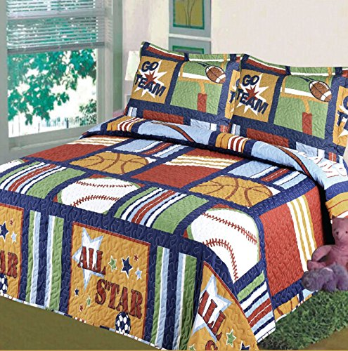 Fancy Collection Blue Red Green Sport Kids/teens 5 Pc Quilt and Sheet Set Bedding Twin Size (Twin Bed Quilt Blue compare prices)