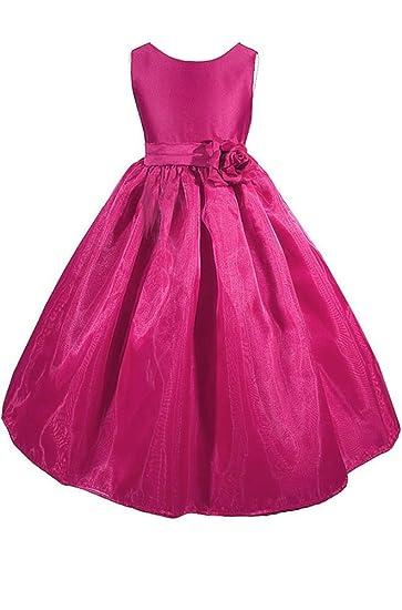 f61c2f70b80 Amazon.com  AMJ Dresses Inc Big-girls  Fuchsia Flower Girl Dress ...