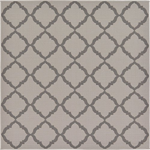 Unique Loom Outdoor Trellis Collection Geometric Moroccan Lattice Transitional Indoor and Outdoor Flatweave Gray  Square Rug (6' x 6')