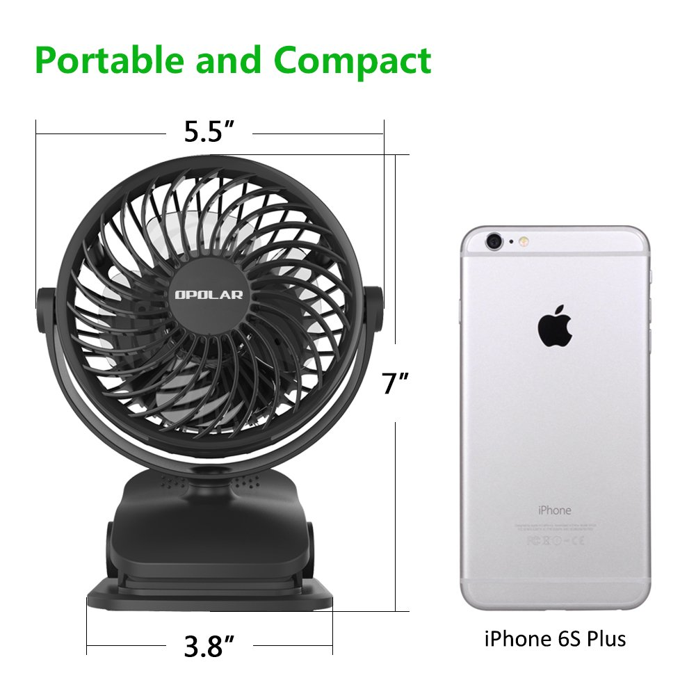 OPOLAR Battery Operated Fan, Clip on and Desk Fan, Personal Portable Fan with 4 Speeds, Rechargeable, 360 Degree Rotation, 2200mAh Battery, Powerful Wind for Baby Stroller,Outdoor Activity, Office by OPOLAR (Image #7)