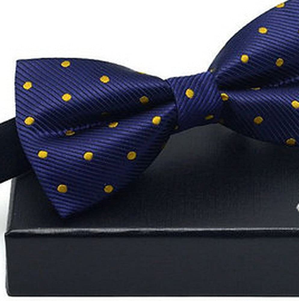 Business Adjustable Bow Tie For Mens Pre Tied Wedding Bow Tie Yellow Wave Points