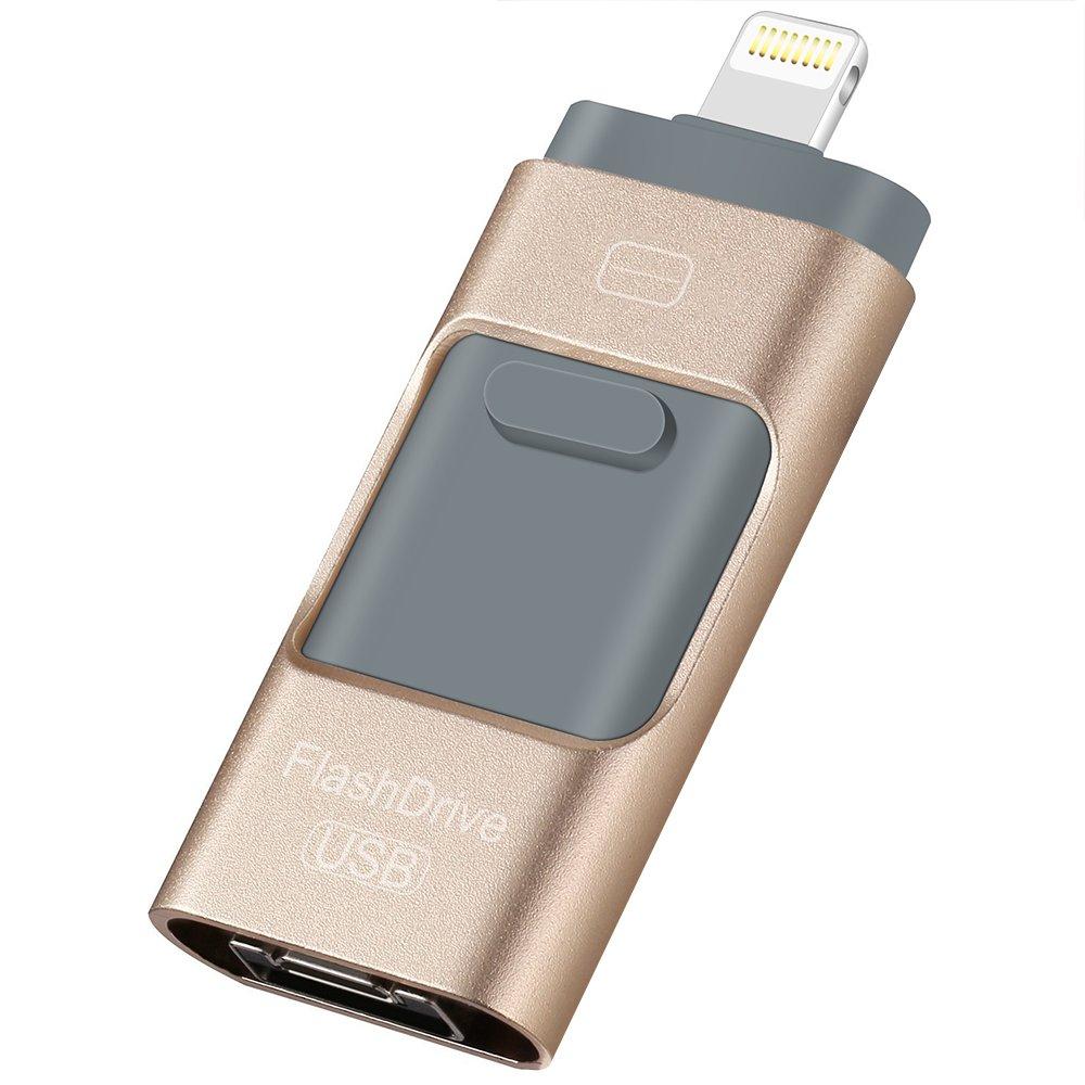 iOS USB Flash Drive,32GB Lightning Flash Drive,HMfire 3-in-1 OTG Pen Drive USB 3.0 Jump Drive U Disk Memory External Storage Stick for iPhone,Android,Macbook,iPad,iPod and PC (Gold)