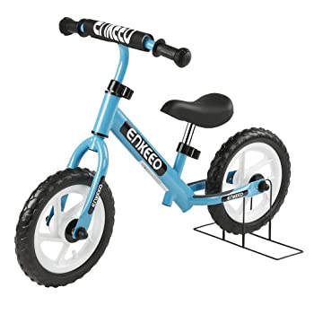 side facing blue enkeeo 12 sport balance bike