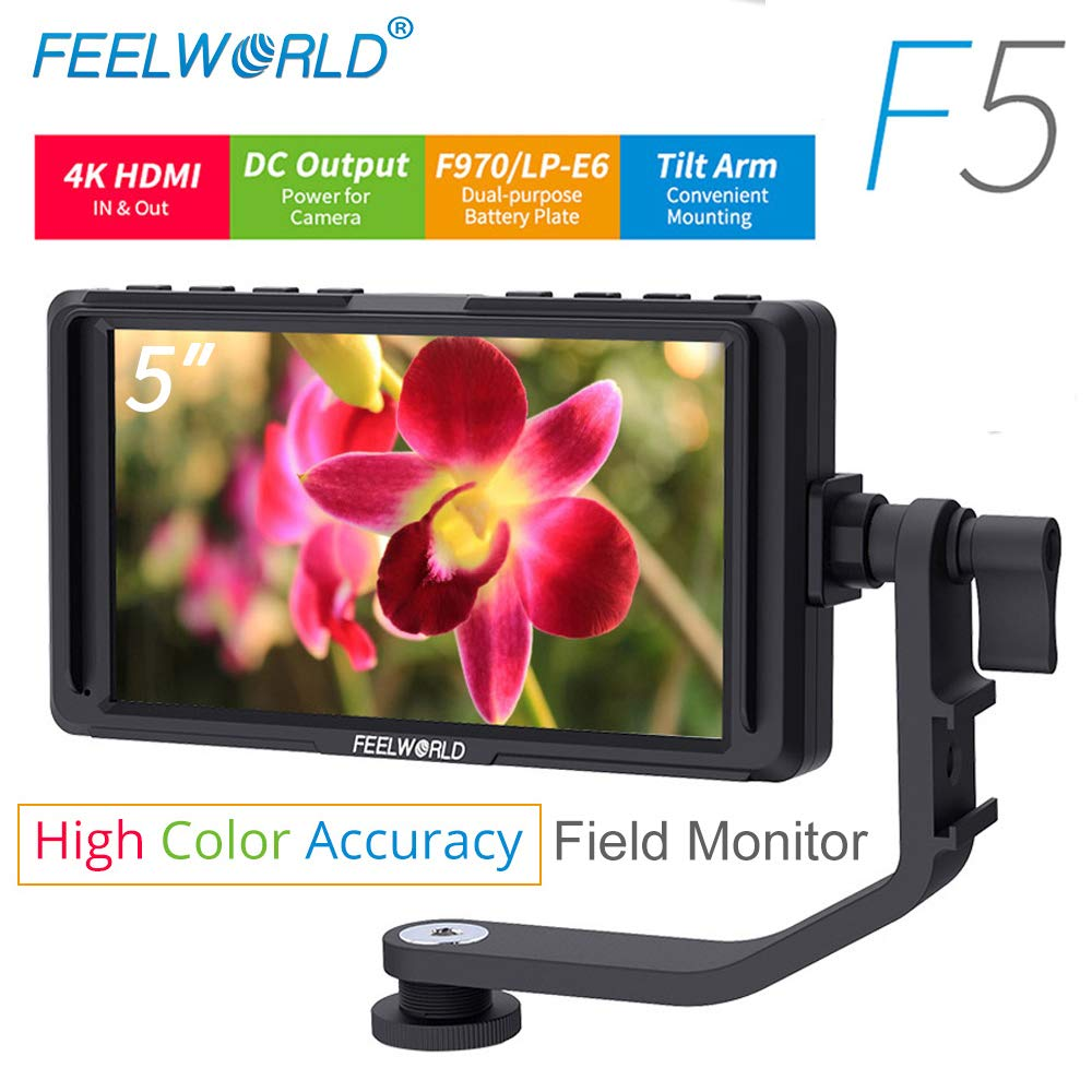 FEELWORLD F5 5 inch Peaking Focus Assist on Camera Field Video Monitor IPS Screen with 4K HDMI Loop Through and 8.4V DC Input