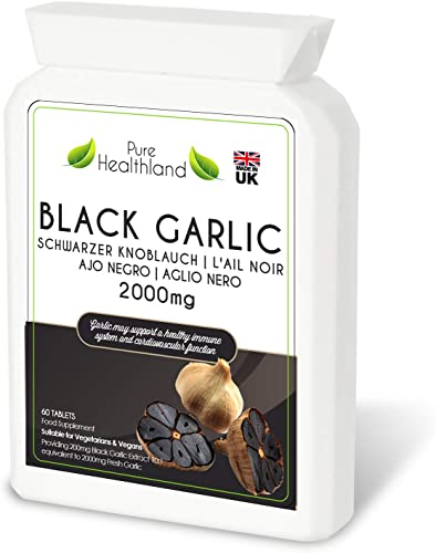 Gluten Free ODORLESS Black Garlic Supplement Pills. High Potency Equal to 2000mg Fresh Garlic Bulbs. Suitable for Vegan Vegetarian Tablets. Made in UK 1 Bottle