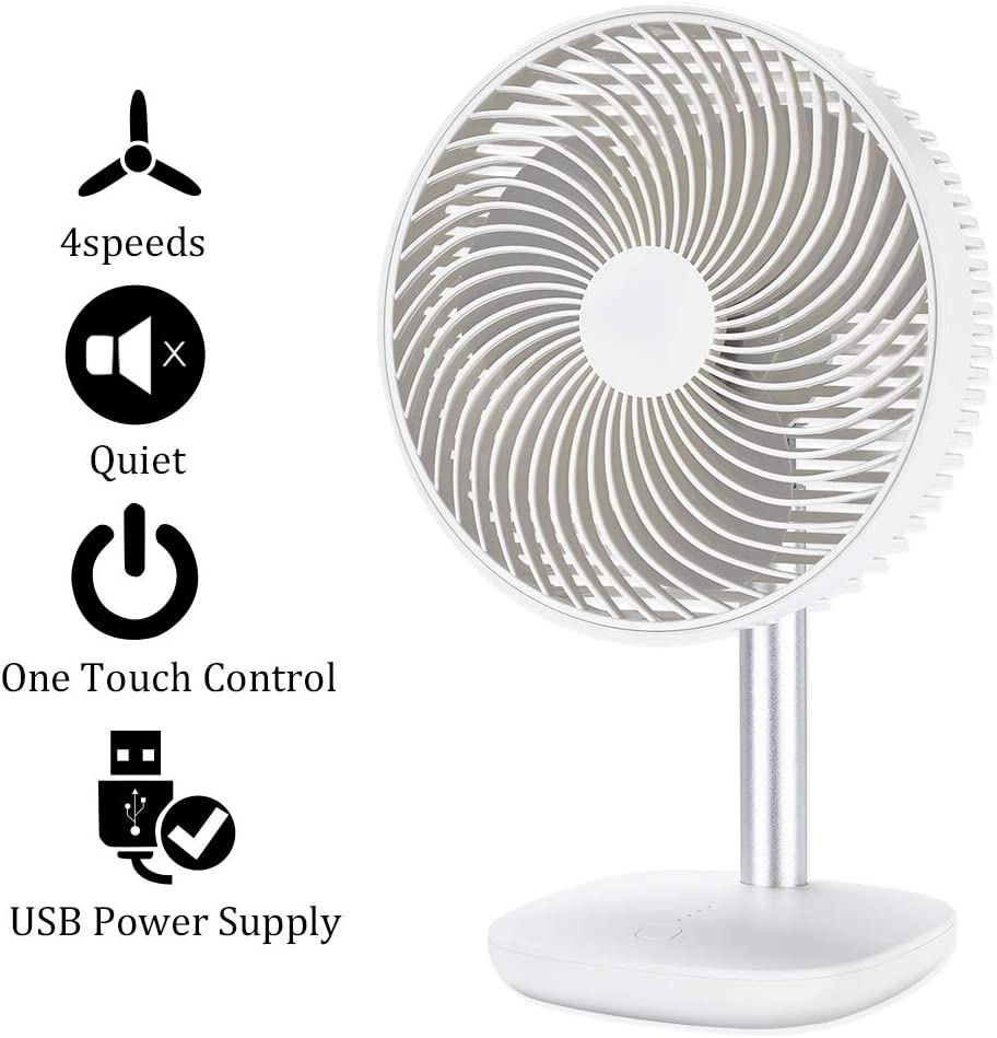 Battery Powered Rechargeable Desk Fan with 4000mAh Capacity, YDS Battery Operated USB Fan with Long Working Time, Whisper Quiet, Personal Cooling Fan for Camping Home Office Hurricane.