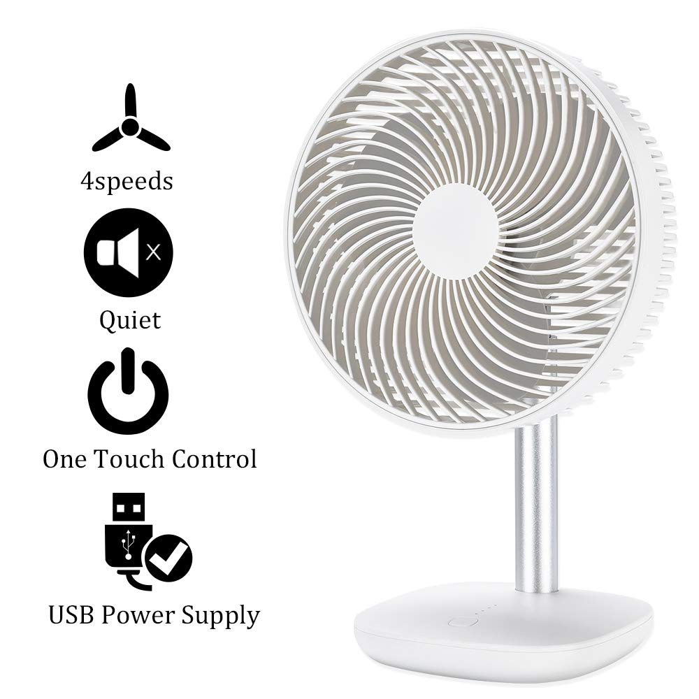 Battery Powered Rechargeable Desk Fan with 4000mAh Capacity, YDS Battery Operated USB Fan with Long Working Time, Whisper Quiet, Personal Cooling Fan for Camping & Home & Office & Hurricane. by YDS