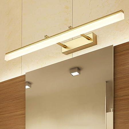 5.5CM 630LM JYLDD 9W Dor/é Applique Murale LED pour Miroir Salle de Bains Rectangulaire Angle de 180 Ajustement Lampe de Miroir T/élescopable en M/étal Inoxydable et Acrylique Blanc Froid IP44 40