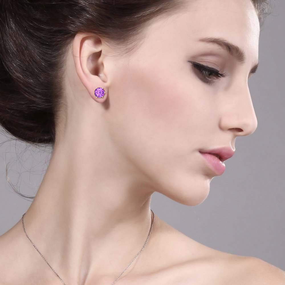 tusakha 6 Prongs Solitaire 6mm Round Cut Created Amethyst Stud Earrings For Womens /& Girls