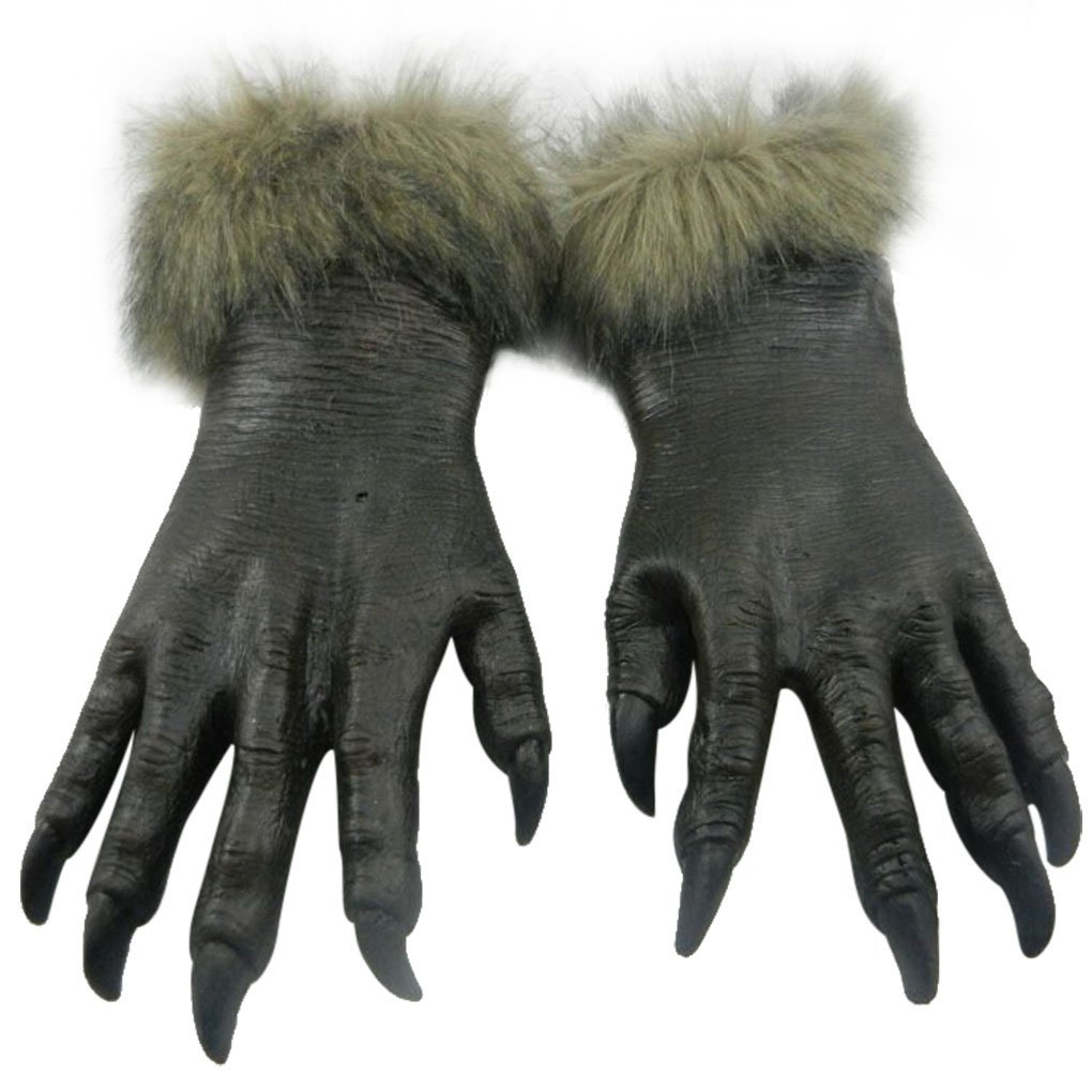 Cool Gray Wolf Animal Full Face Mask and Gloves for Halloween Masquerade Werewolf Cosplay Costume Party for Adult (Gloves)