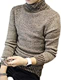 korean clothing for men - Yiwa Men's Pullover Turtleneck Knitwear Sweater for Autumn Winter Brown L