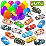 UMIKU 18 Pack Easter Cars Toys Easter Eggs Mini Die-Cast Cars Easter Basket Stuffers Easter Egg Fillers for Kids Surprise Egg Hunt Party Favors Premium Metal Car Toys Easter Gifts Class Prizes