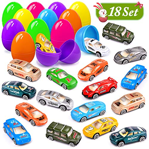 UMIKU 18 Pack Easter Cars Toys Easter Eggs Mini Die-Cast Cars Easter Basket Stuffers Easter Egg Fillers for Kids Surprise Egg Hunt Party Favors Premium Metal Car Toys Easter Gifts Class Prizes]()