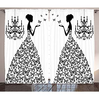 Ambesonne Curtains For Living Room Decor By Madame Butterfly Black Chandelier Princess Wedding Gown Attractive