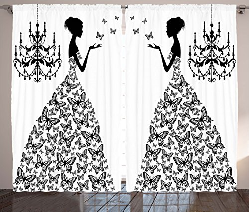 Madame Butterfly Fabric - Curtains for Living Room Decor by Ambesonne, Madame Butterfly Black Chandelier Princess Wedding Gown Attractive Woman Bedroom Dining Room Curtains 2 Panels Set, 108 x 90 inches, Black White