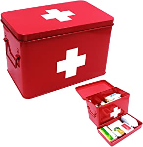 Funly mee Vintage First aid Box for Home, Medicine Tin, Red Metal Medicine Storage Box (Large 12.6× 8.3×7.7 inches)