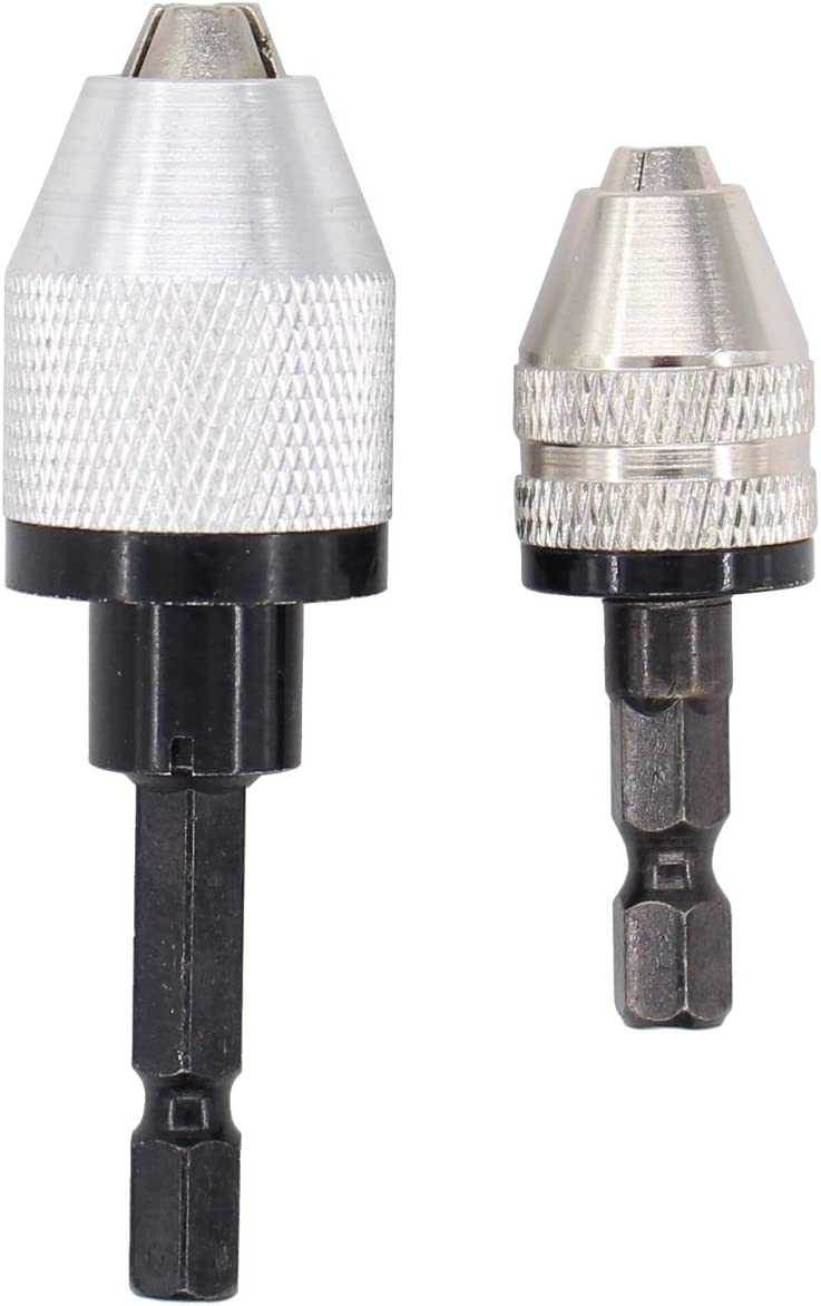 XtremeAmazing 2 Pack Keyless Quick Change Drill Chuck Converter Impact Driver 1//4 Inch Hex Shank Drill Adapter Conversion Tool 0.3-6.5mm /& 0.3-3.6mm