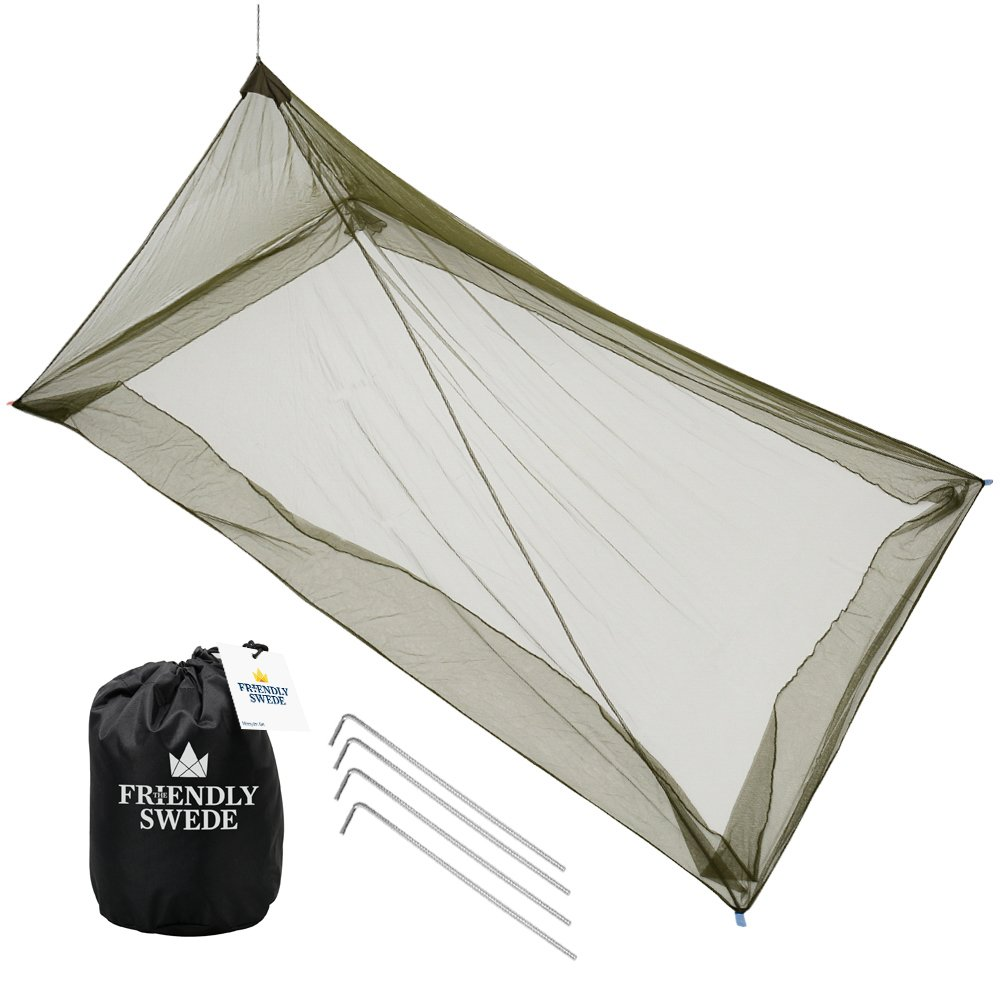 The Friendly Swede Mosquito Net, Pyramid, for Single Camping Bed SO11028DE