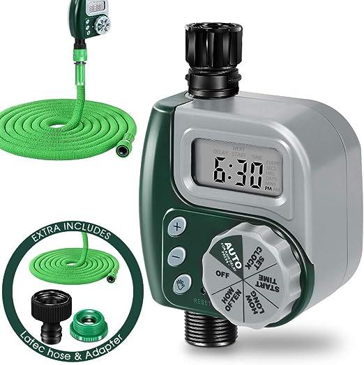 Masterop - Programador digital de riego con manguera retráctil, resistente al agua, riego automático para jardín: Amazon.es: Jardín