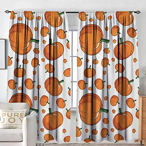 Living Room Curtains Harvest,Halloween Inspired Pattern Vivid Cartoon Style Plump Pumpkins Vegetable,Orange Green White,All Season Thermal Insulated Solid Room Drapes -