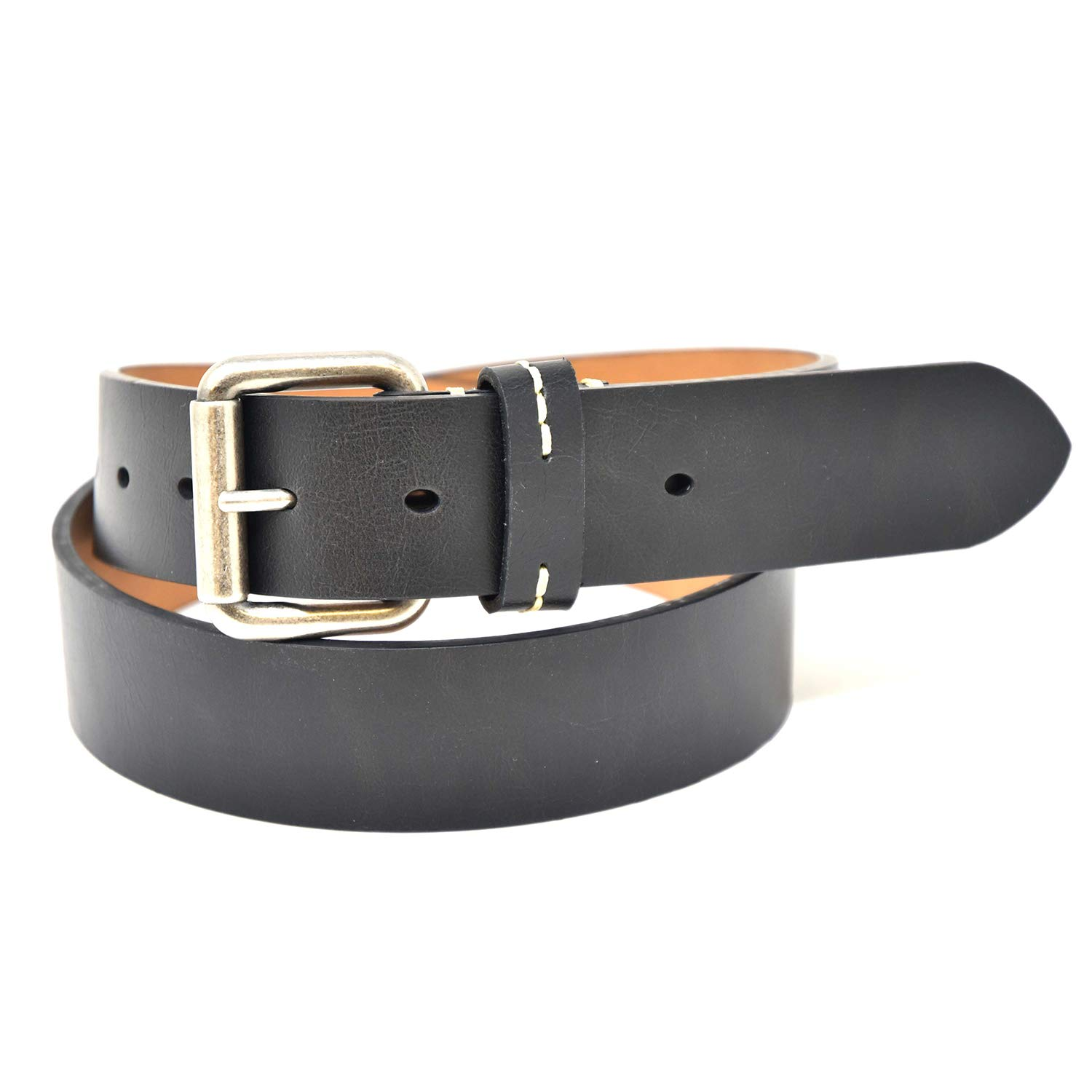 Brown/and Tan Antique Nickel Roller Buckle 1.5 Wide/7 Hole Jean Belt Black NYBC Mens Belt Made in the USA