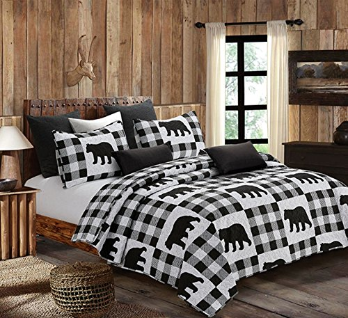 Virah Bella Buffalo Plaid Rustic Black Bear Quilt & Sham Set (White, Black, Twin) ()