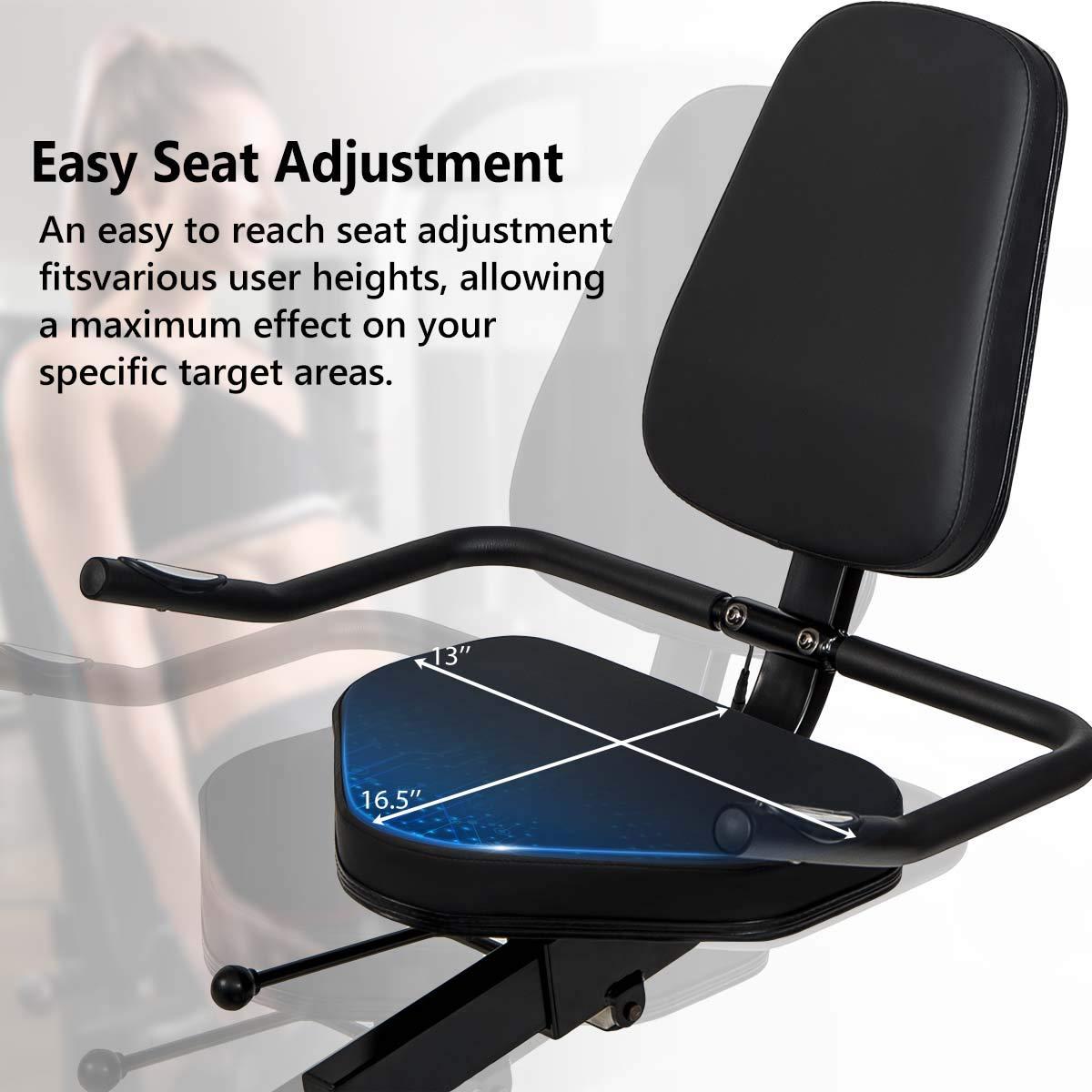 Merax Magnetic Recumbent Exercise Bike | 8-Level Resistance | Quick Adjust Seat (Black/Yellow) by Merax (Image #4)