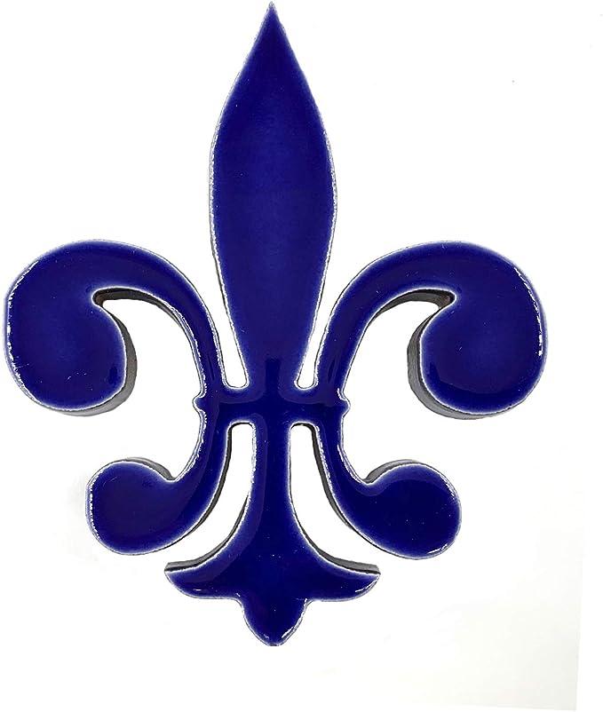 Meridian Tile Products Porcelain Swimming Pool Step Marker Mosaic 3 x 3.5 Fleur De Lis 1 4 Pack Cobalt Blue