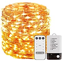 Foxcesd Fairy Lights Battery Operated 33 ft 100 LEDS, Waterproof Outdoor & Indoor Decorative LED String Lights Dimmable Remote