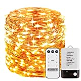 Fairy Lights Battery Operated 33 ft 100 LEDS, Waterproof Outdoor & Indoor Decorative LED String Lights Dimmable Remote for Christmas Party DIY Wedding Yard Garden Patio Gate Bedroom (Warm White)