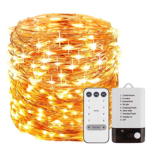 Fairy Lights Battery Operated 33 ft 100 LEDS, Waterproof Outdoor & Indoor Decorative LED String Lights Dimmable Remote for Christmas Party DIY Wedding Yard Garden Patio Gate Bedroom (Warm White) - Own Fairy Mirror