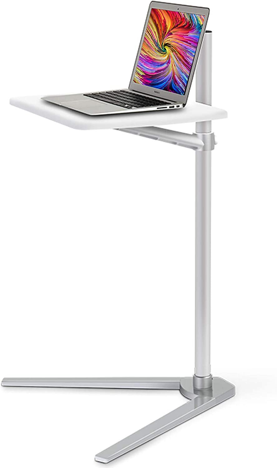 Floor Stand for Laptop,Sofa Side Table Slide Under,Aluminum Height Adjustable Table for Bed and Couch,Snack Table.