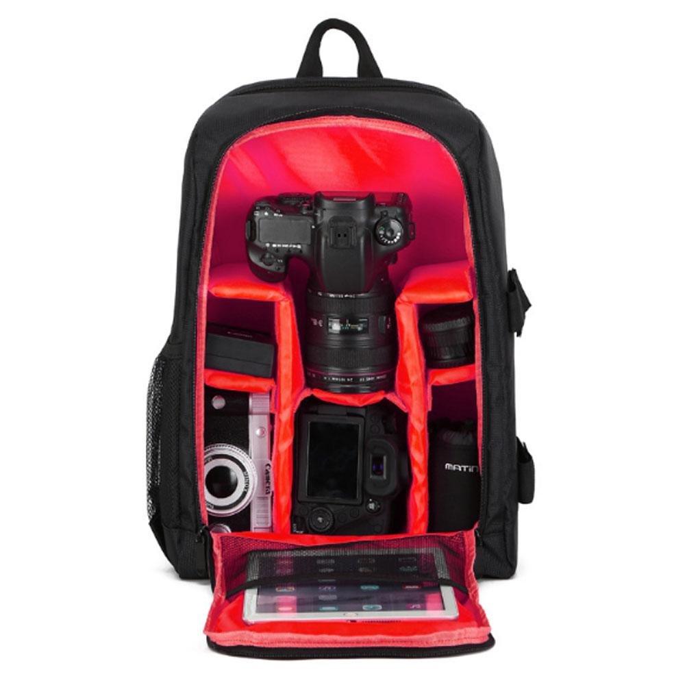 AOLVO カメラバックパック デジタル一眼レフカメラバッグ 大容量 多目的 一眼レフカメラ バックパック カメラ ノートパソコン ミラーレスカメラ レンズ フラッシュ その他のアクセサリー用 B07MNN9XRX レッド